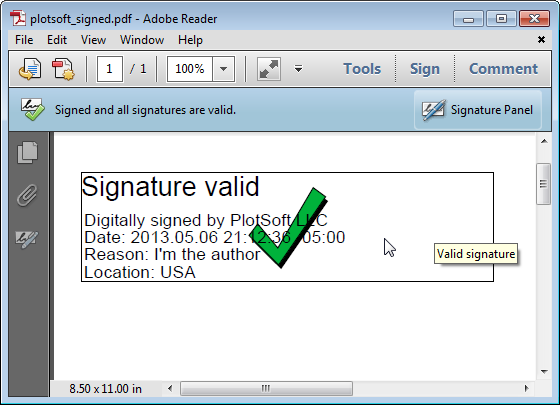 Done signing button on pdf